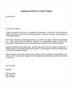 reference letters for employment employment reference letters template