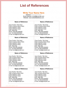 reference list template professional reference list template