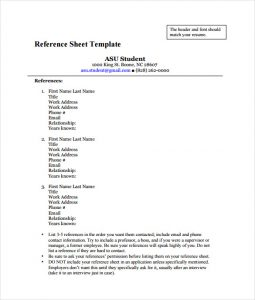 reference page template job reference sheet pdf template free download