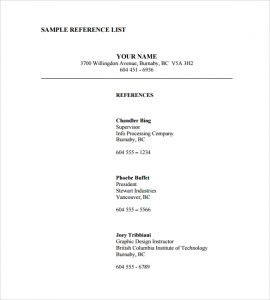 reference page template sample reference list template