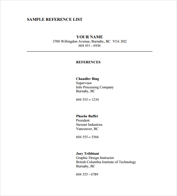 reference page template