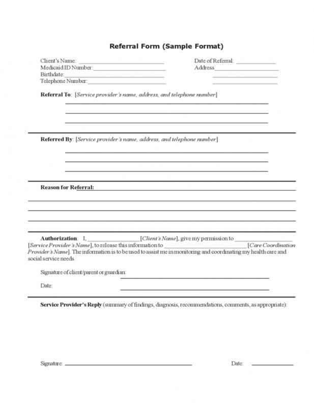 referral forms templates