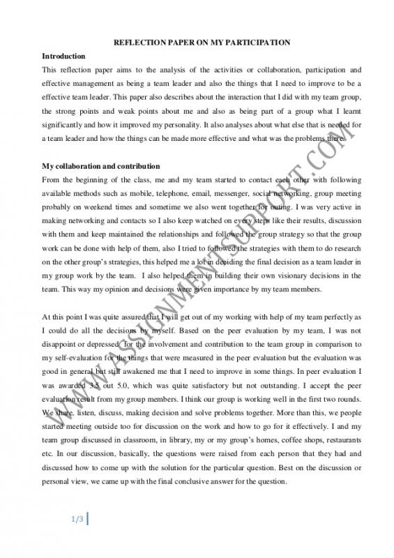 reflection essay samples