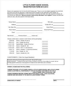 registration form template dance school registration form template