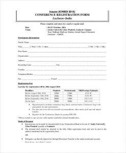 registration form template printable conference registration form template