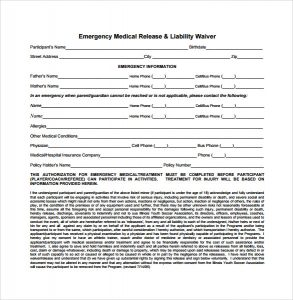 release of liability form emergency medical release liability waiver form