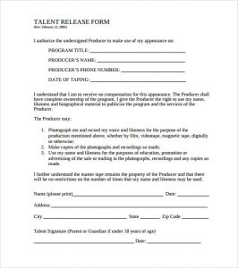 release of liability form pdf free film talent release form template