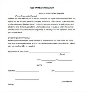 release of liability form pdf generic hold harmless agreement