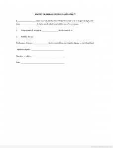 release of liability form pdf receipt or release of personal property