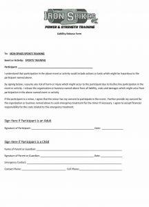 release of liability form template iron spikes liability release form x