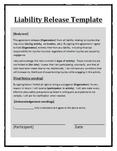 release of liability form template liability form template