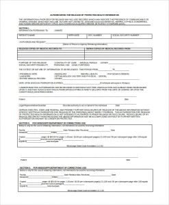 release of records form protected medical records release form