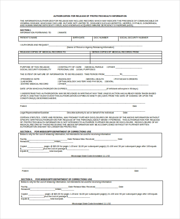 release of records form