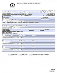 rent application form south carolina rental application x
