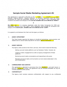 rent contract template sample social media marketing agreement l