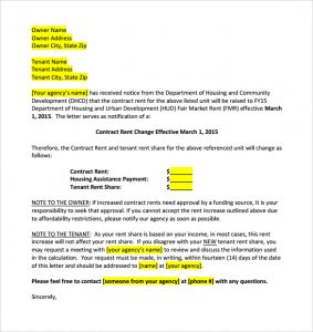 rent increase letter template example rent increase letter