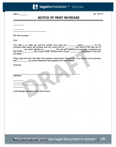 rent increase letter template notice of rent increase template