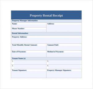 rent paid receipt property rent receipt template