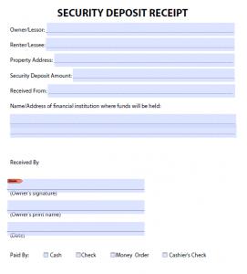 rent paid receipt security deposit receipt template