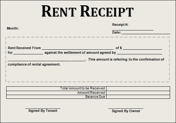 rent receipt format