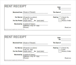 rent receipt template free rent receipt template excel format