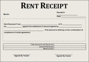 rent receipt template rent receipt example