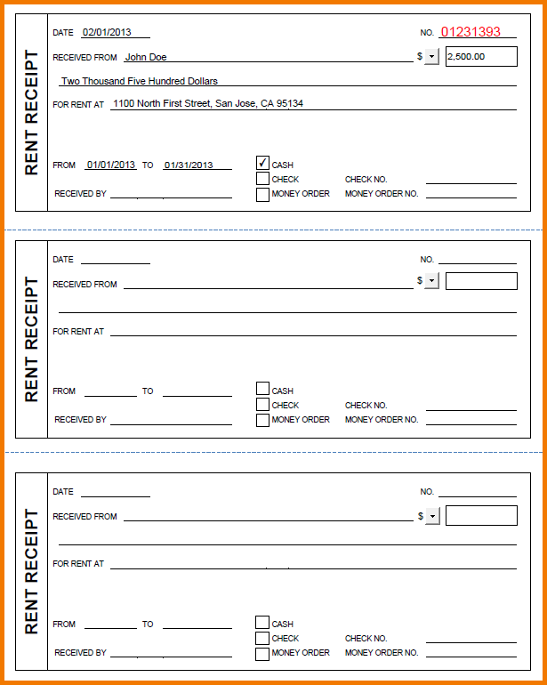 rent receipts forms