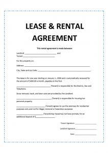 rental agreement format agreement template