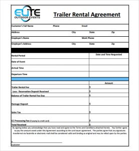 rental agreement forms general trailer rental agreement