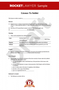 rental agreement forms licence to sublet