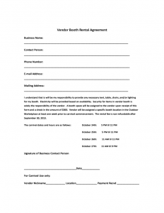 rental agreement forms vendor booth rental agreement template l