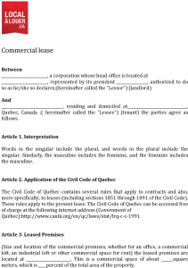 rental agreement month to month quebec commercial lease agreement form