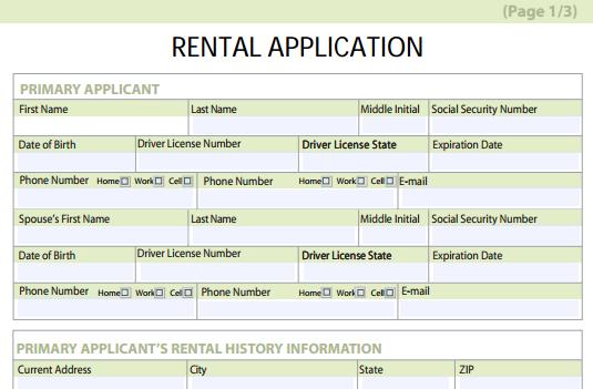 rental application form free