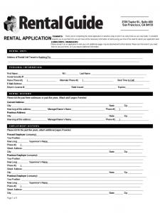 rental application form free rental application form california d
