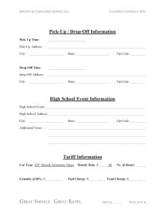 rental contract template limousine high school event contract page