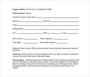 rental contract template vacation property rental agreement