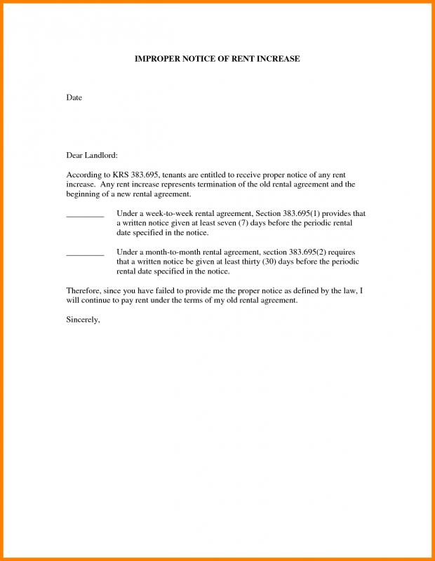rental increase letter