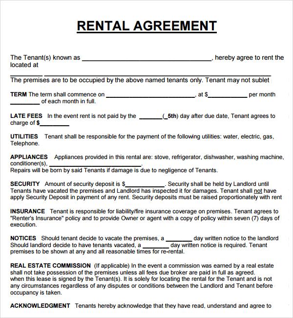 rental lease agreement