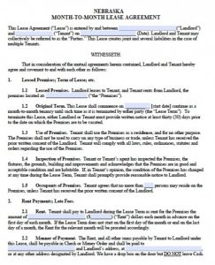 rental lease agreements nebraska month to month lease agreement version x