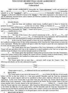 rental lease agreements wisconsin