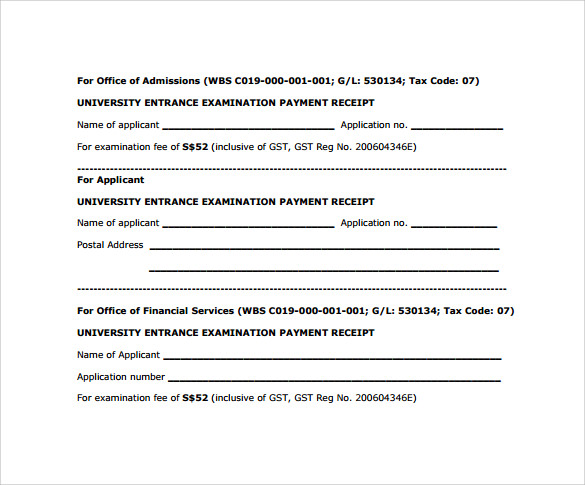 rental payment receipts