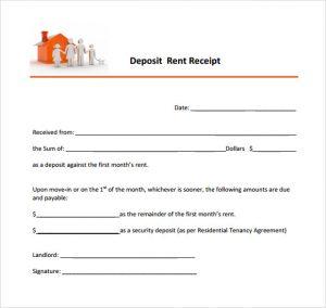 rental payment receipts rent deposit receipt template