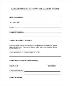 rental receipt pdf security deposit receipt for property