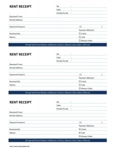 rental receipts template word rent receipt