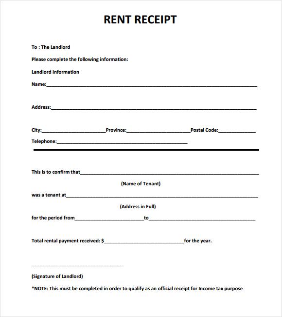 rental receipts template word