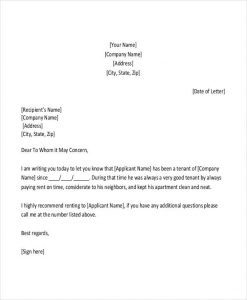 rental reference letter rental reference letter from employer