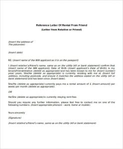 rental reference letter rental reference letter from friend