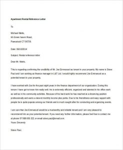 rental reference letters apartment rental reference letter
