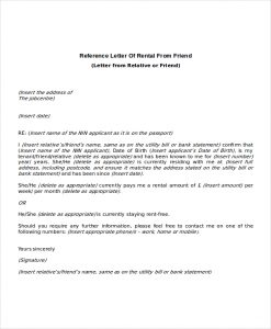 rental reference letters reference letter of rental from friend