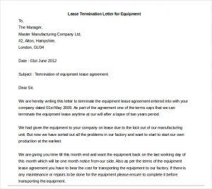 rental termination letter lease termination letter for equipment
